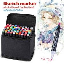 Marcadores de arte 30/40/60/80 marcadores de cor mangá desenho marcadores caneta álcool baseado esboço feltro-ponta oleosa twin escova caneta arte suprimentos