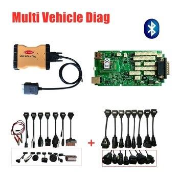 Multi Vehicle Diag 2016R0 keygen quality A+ Single Green board with bluetooth MVD obd obd2 diagnostic tool +8pc car/truck cables