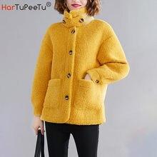 Женская зимняя куртка оверсайз из искусственного меха ягненка