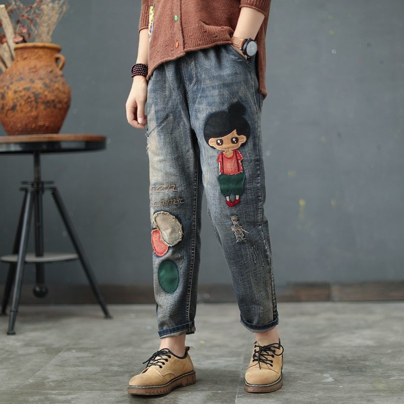 Spring Autumn New Arts Style Women Jeans Elastic Waist Cotton Denim Harem Pants Vintage Embroidery Loose Ripped Jeans D463