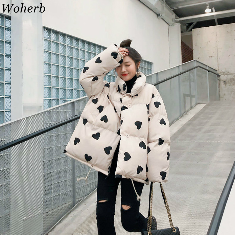 Woherb Women Coat Oversize Harajuku Parkas Heart Print Padded Casual Warm Jacket Korean Winter Clothing Rainbow Fluffy Parka