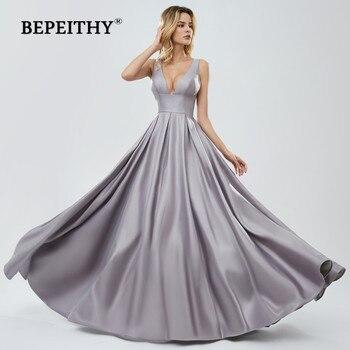 BEPEITHY V Neck Long Prom Dresses See Through Bodice 2020 Vestido De Festa Sexy Evening Dress Party Gown