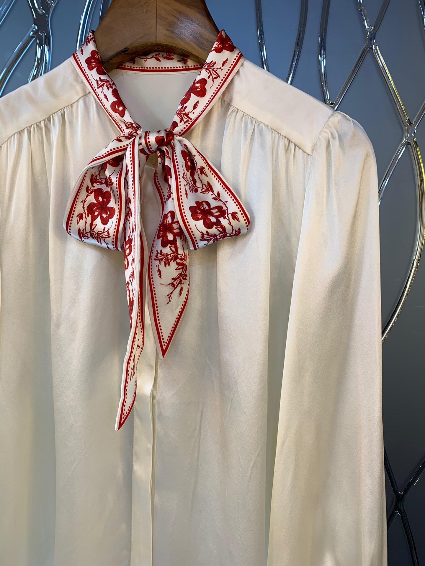 2019 nueva camisa de seda de manga larga con cuello de lazo y estampado Vintage elegante envío gratis a todo el mundo - 3