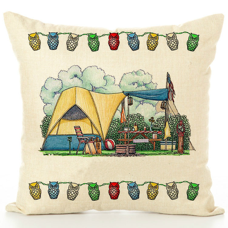 Special Happy Campers Sofa Waist Throw Cushion Cover Pillow Case Home Decor 18