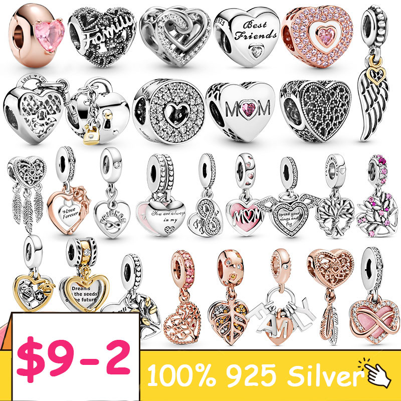 Heart Collection 925 Sterling Silver Love Forever Heart Dangle Charm fit Original Pandora Bracelet Necklace Silver 925 Jewelry