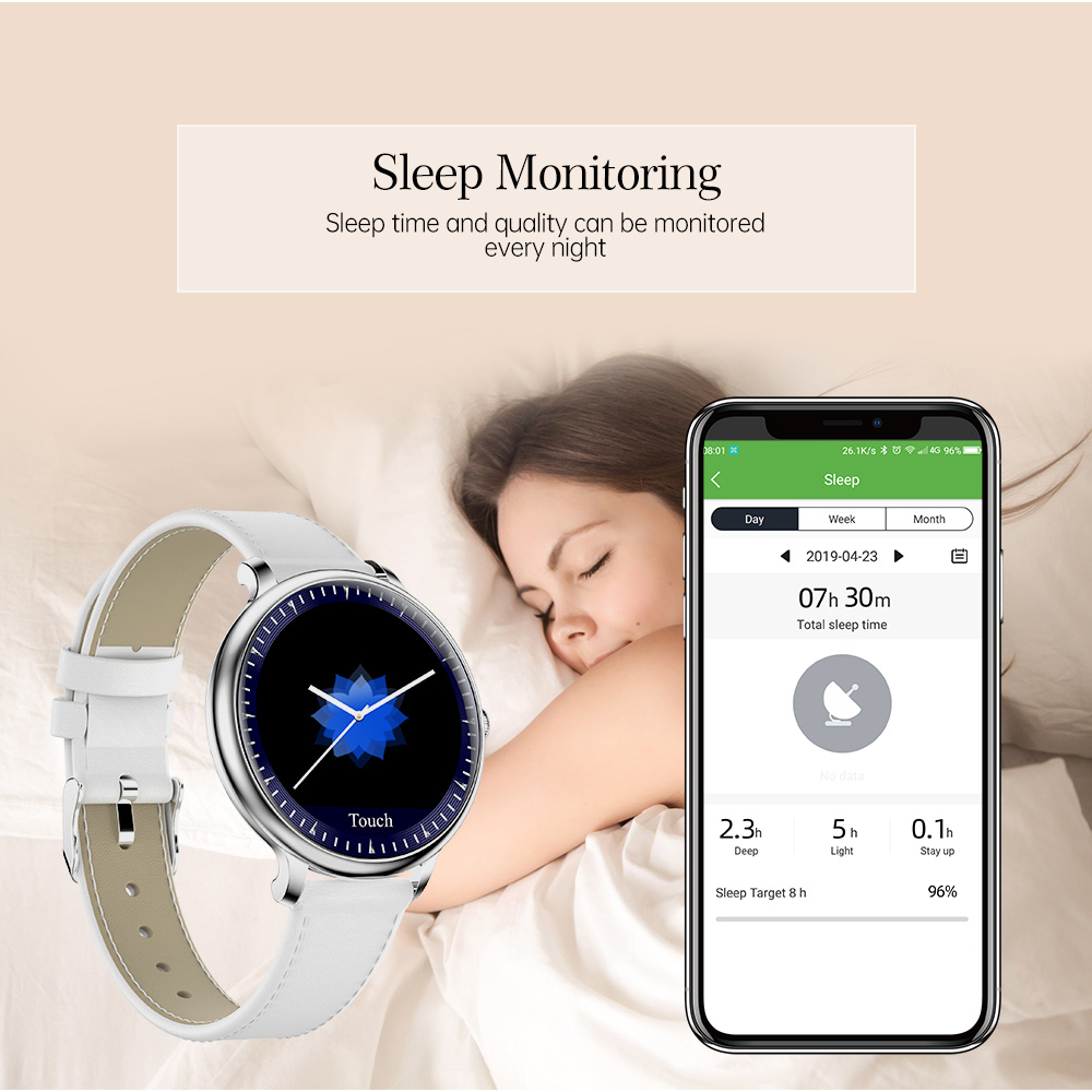 lowest price RUNDOING NY12 Stylish women smart watch Round Screen smartwatch for Girl Heart rate monitor compatible For Android and IOS