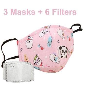 3 PCS Del Fumetto PM2.5 Bambini Maschera Maschera Con 6 Filtri Respiro Bocca Valvola Viso Maschera Per Bambini Lavabile Maschera Maschera di Polvere a prova di sterile In Magazzino 15
