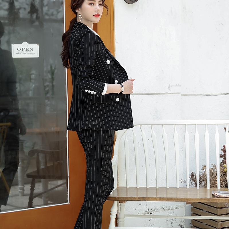 Lenshin High Quality 2 Piece Set Striped Formal Pant Suit Soft and Comfortable Blazer Office Lady Uniform Designs Women Business 29