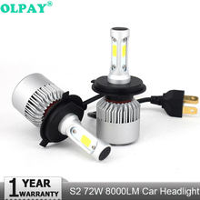 OLPAY  8000lm Improved S2 Led Car Headlight with Powerful COB Chips H1 H3 H4 H7 H8 H9 H11 880 881 9004 9005 9006 9007 led Lamps