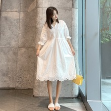 Plus Size Women Dress Temperament 2021 Summer New V-Neck Mid-Length Lace Dress Very Fairy French Ethereal White Lace Long Skirt