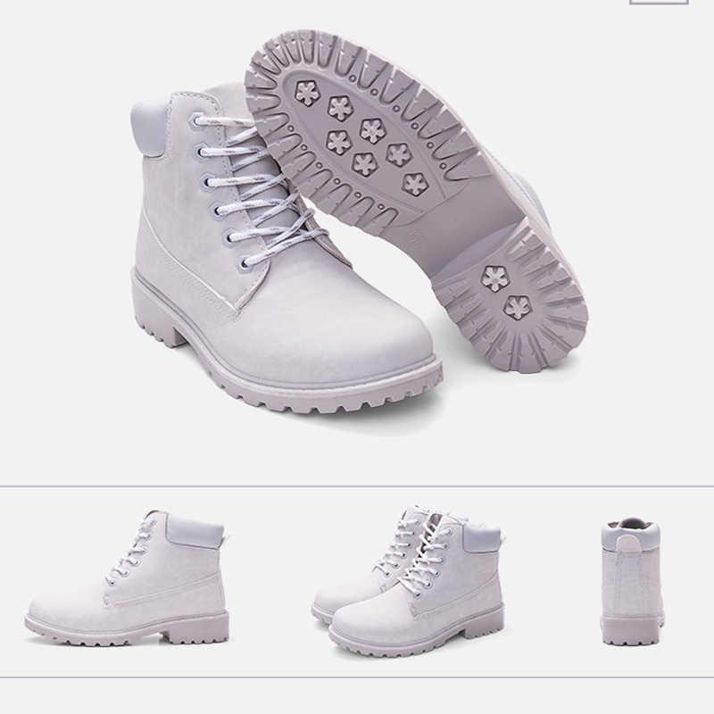 Новинка; зимние женские ботильоны; кожаные ботинки на меху; теплые плюшевые ботинки на резиновой платформе со шнуровкой; пикантная Женская обувь в стиле панк; Цвет Черный; Botas Mujer