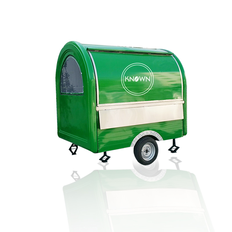 Green Color Mobile Food Cart With 2 Big Wheels Street Food Truck Ice Cream Cart For Sale