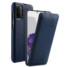 Vertical Open Genuine Leather Flip Phone Case Cover For Samsung Galaxy S20 Plus Ultra S20+ Real Cowhide Business Pouch Bags(China)