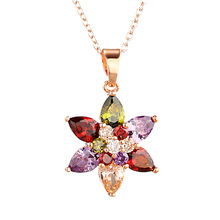 Hot Six-pointed Star Zircon Necklace Color Pendant Fashion Ladies Jewelry