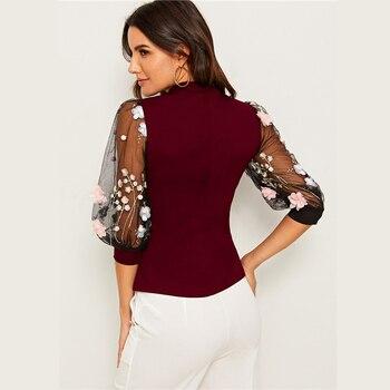 Blusa manga media malla aplique bordado otoño 1
