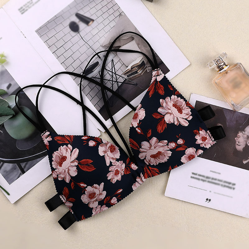 2020 New Fashion Floral Print Girls Bra Fashion Women Underwear Front Buckle Underwear Seamless Cross Back Women Push Up Bras