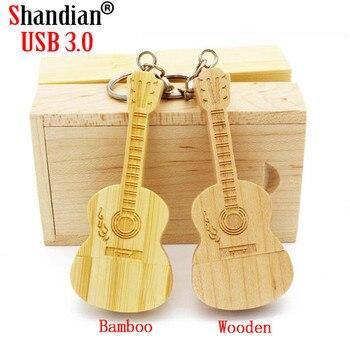 SHANDIAN USB 3.0 1PCS free custom logo Wooden bamboo+box USB flash drive pendrive 4GB 16GB 32GB 64GB usb 3.0 memory card gifts