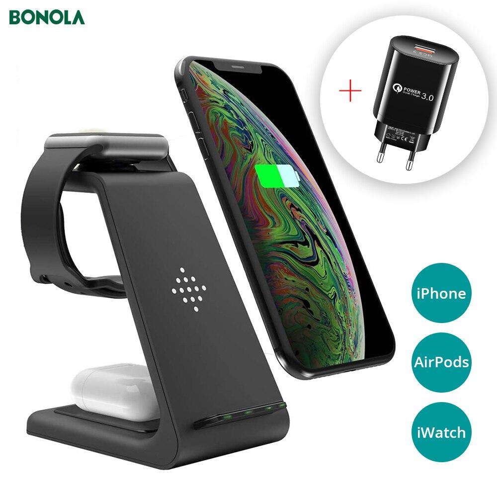 Bonola qi 3 in1 carregador sem fio suporte para iphone11/xr/xs/airpods3/ichatch5 rápido carregamento sem fio para samsungs20/s10/relógio/botões