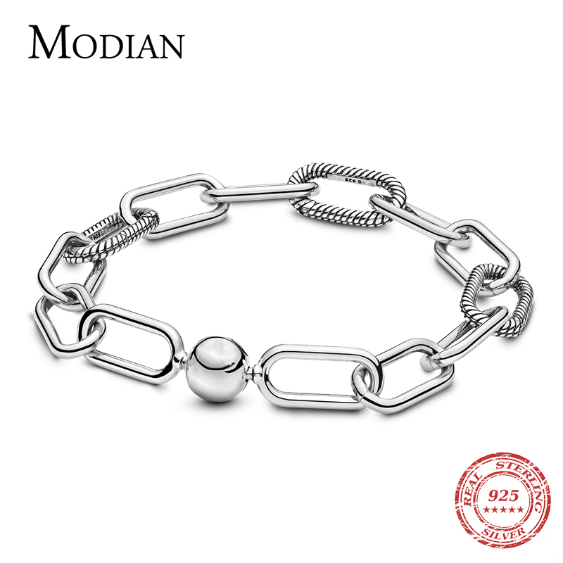Modian Real 100% 925 Sterling Silver Geometric Fashion Link Chain Bracelet & Bangle DIY Jewelry New Design For Women Accessories