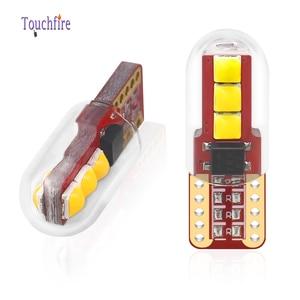 Image 1 - 100 sztuk T10 LED W5W oświetlenie tablicy rejestracyjnej 3030LED 3SMD z obiektywem Auto Wedge Turn Side żarówki wnętrze czytanie lampa kopułkowa hurtownie