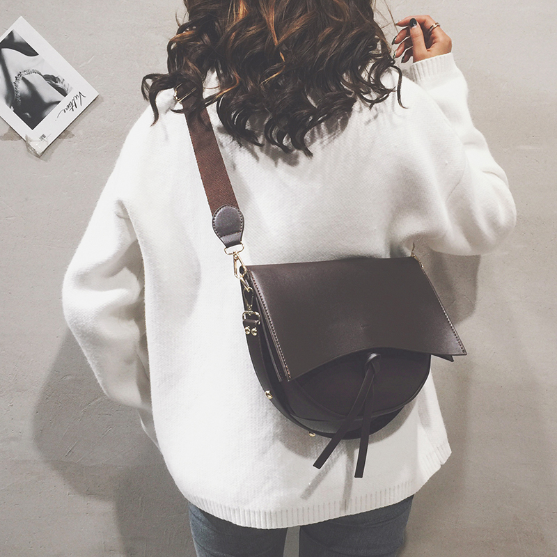 Vento Marea Crossbody Bag For Women With Wide Shoulder Strap 2020 New Composite Bag In Soft Leather Female Saddle Coffee Handbag