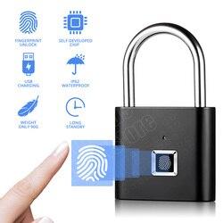 Keyless bloqueio de impressão digital usb recarregável inteligente cadeado de impressão digital desbloqueio rápido anti-roubo segurança cadeado gaveta