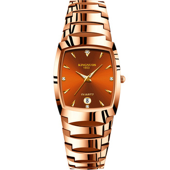 Kingnuos Luxury Brand Fashion Steel Rectangle Couple Quartz Watchs Calendar Minimalist Luminous Hands Waterproof Wristwatch