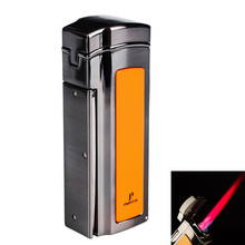 цена на PIPITA Cigar Lighter Windproof Refillable Butane Torch Lighter 4 Jet Red Flame Lighters with Punch gas Cigarettes Lighter