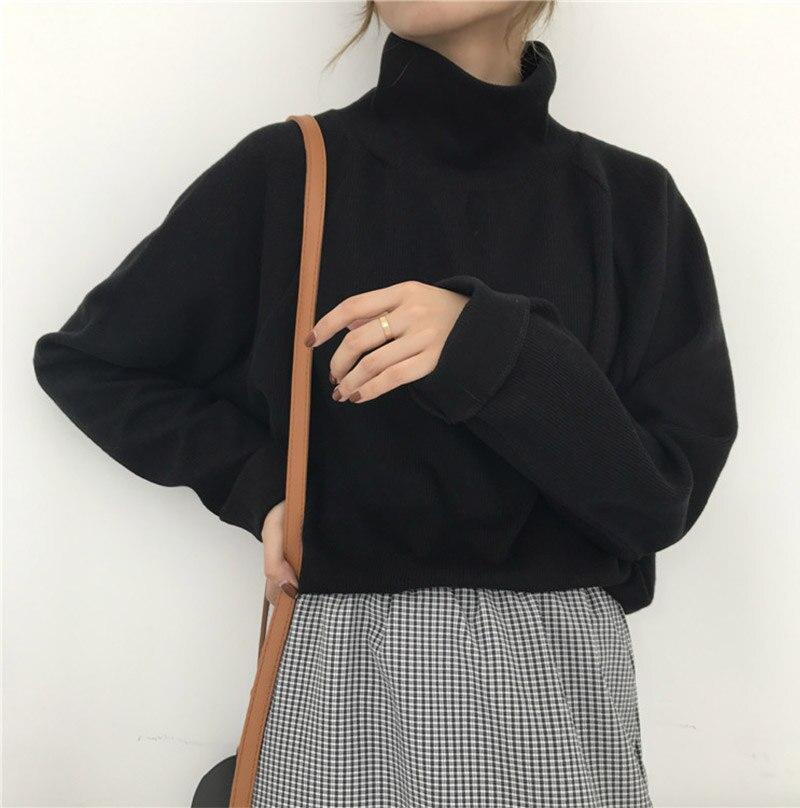 Camisa feminina gola alta de malha, blusa