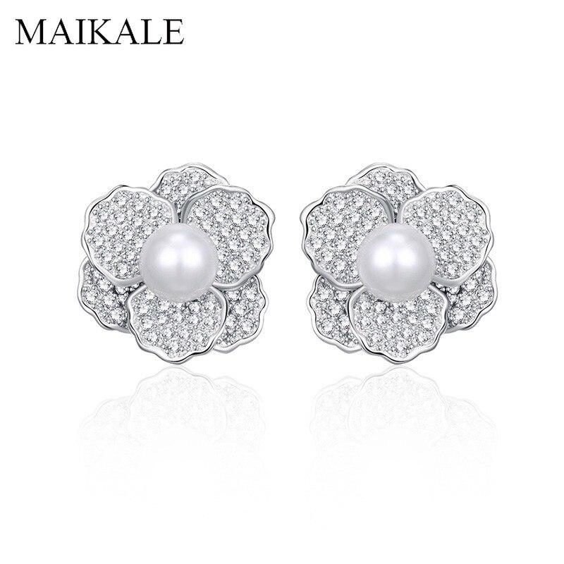 MAIKALE серебряный цвет в форме цветка серьги гвоздики с жемчугом AAA кубический цирконий Золотой Серебряный цвет Корейский серьги для женщин подарок|Серьги-гвоздики|   | АлиЭкспресс