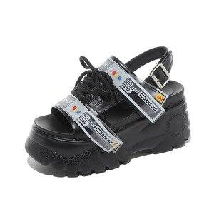 Image 5 - Schoenen Vrouw Zomer Chunky Sandalen Vrouwen 8 Cm Wedge Hoge Hakken Sandalia Feminina Platform Sandalen Stripper Hakken Zapatos De Mujer