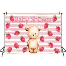 תינוק מקלחת צילום תפאורות דוב תות ורוד פס רקע מסיבת יום הולדת באנר Decorcustom תא צילום רקע