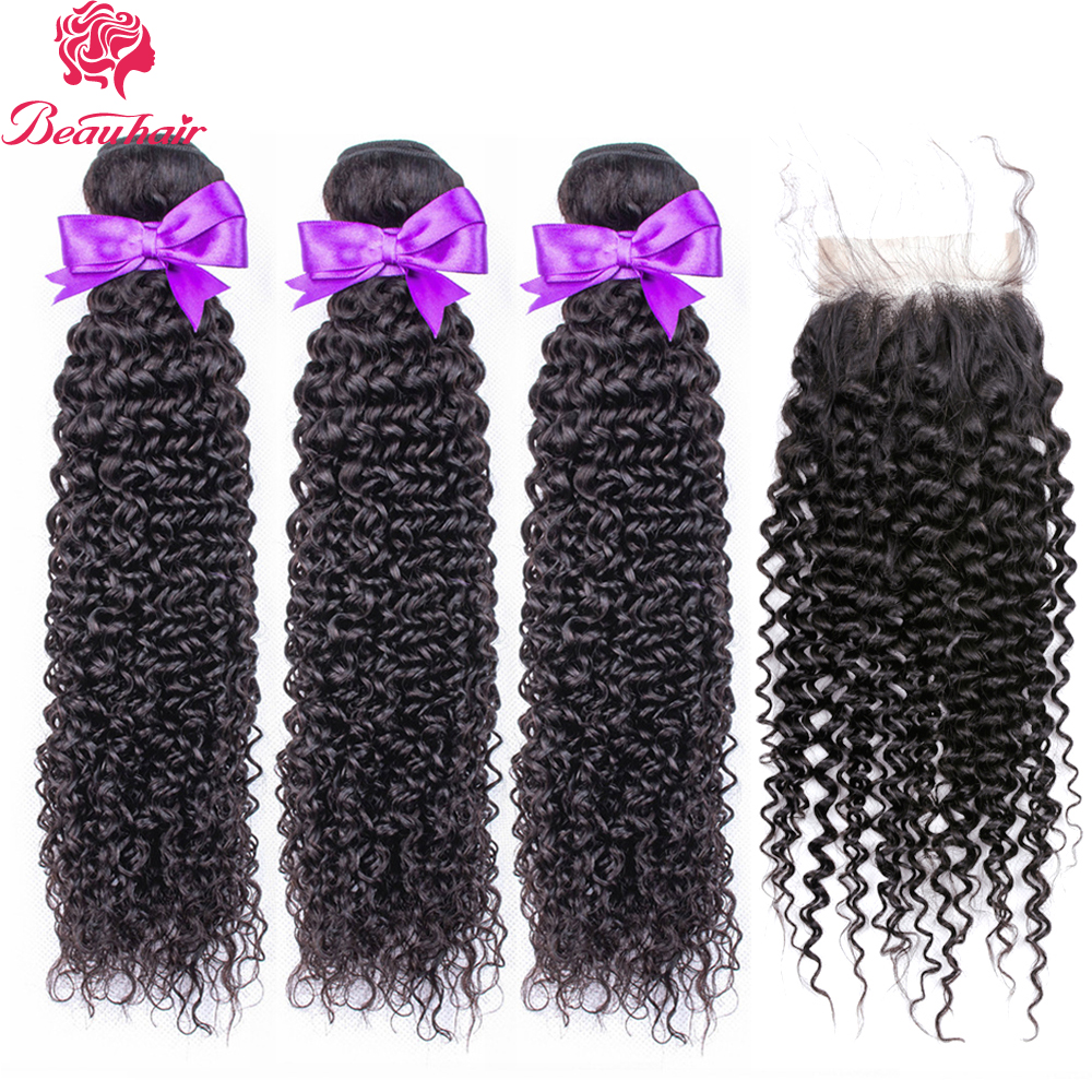 Beau Hair Malaysian Kinky Curly Human Hair 3 Bundles With Closure 4x4 Inch Middle Part 130% Density Non Remy Free Shipping