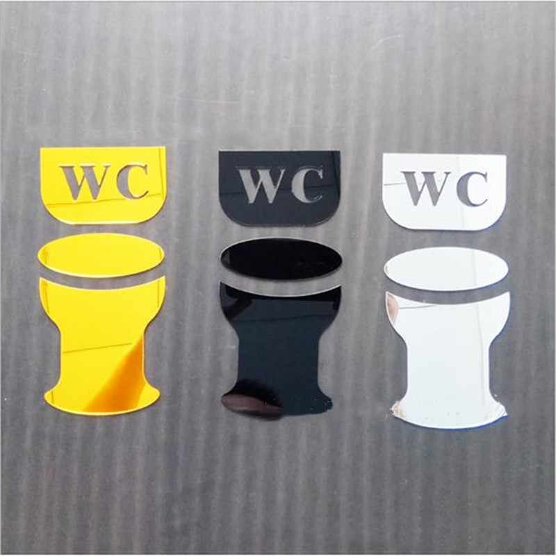 Espejo acrílico 3D pegatina de pared de baño signo de puerta hombres mujeres baño WC negro oro plata espejo moderno pegatinas de pared decoración del hogar