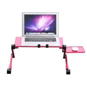 360° Adjustable Foldable aluminum alloy Laptop Desk Table Stand Holder Built-in 2 Cooling Dual Fan & Mouse Boad - DISCOUNT ITEM  36 OFF Furniture