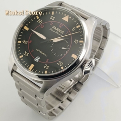 Parnis 47mm duże męskie top mechaniczne zegarki czarna tarcza pomarańczowe znaki data automatyczny męski zegarek ze stali nierdzewnej w Zegarki mechaniczne od Zegarki na