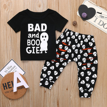 Halloween Casual Letter T-shirt Top +Cute Cartoon Skull Hole Pants