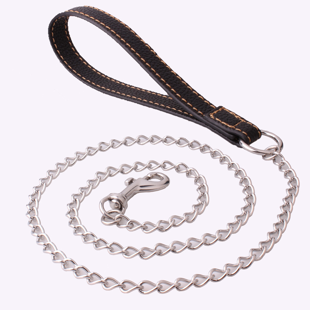 5mm Small And Medium Pet Dog Hand Holding Rope Traction Belt Leather Ring-pull Stainless Steel Traction Anti-Bite Distraction Pe