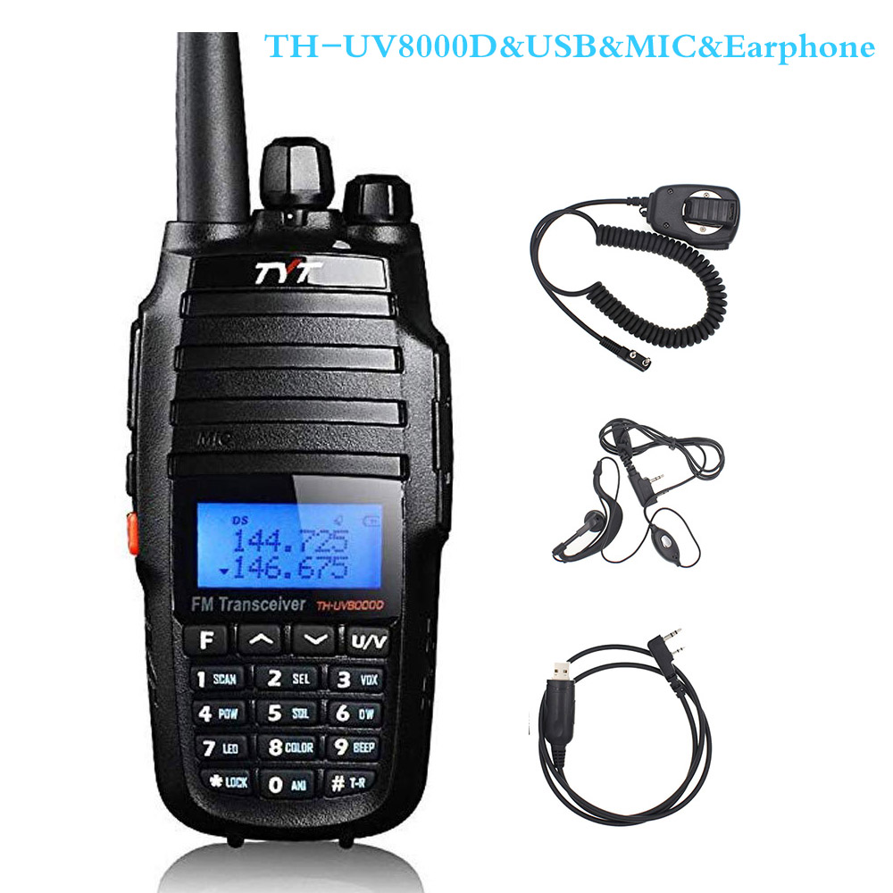 TYT TH-UV8000D Walkie Talkie 10KM Dual Band VHF And UHF 10W 10km Amateur Radio 3600mAh Cross-band Repeater Function Radio