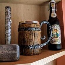 Новое поступление. Пивная кружка Viking в деревянном стиле. Рождественский подарок DP179