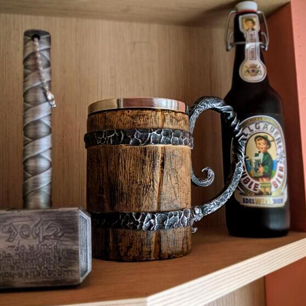 New Arrival Viking Wood Style Beer Mug As Christmas Gift DP179