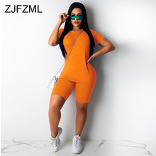2020 Workout Active Wear Plus Size Tracksuit Women O Neck Short Sleeve Top High Waist Bodycon Shorts Matching Sets Club Outfits active round neck drawstring waist tracksuit in beige