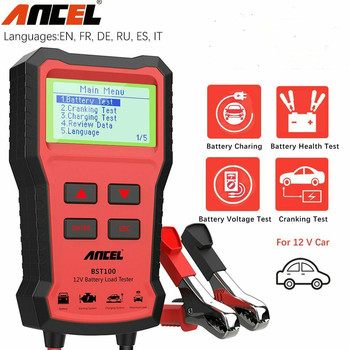 ANCEL BST100 Car Battery Charger Tester Analyzer 12V 2000CCA Voltage Battery Test Car Charging Circut load Tester Tools PK KW600 digital 12v car battery tester vehicle car lcd battery test analyzer auto system analyzer voltage ohm cca test diagnostic tools