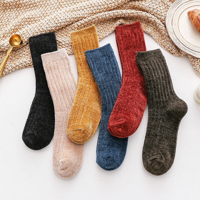 Casual Solid Color Women Socks Winter Thicken Japanese Harajuku  Style Milliken Warm Socks Calcetines Mujer Meias 121301