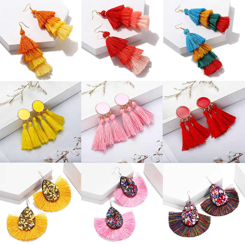 Fashion Women's Earrings 2019 Statement Earrings Boho Jewelry Big Vintage Tassel Earrings Handmade Gift for Wedding Wholesale