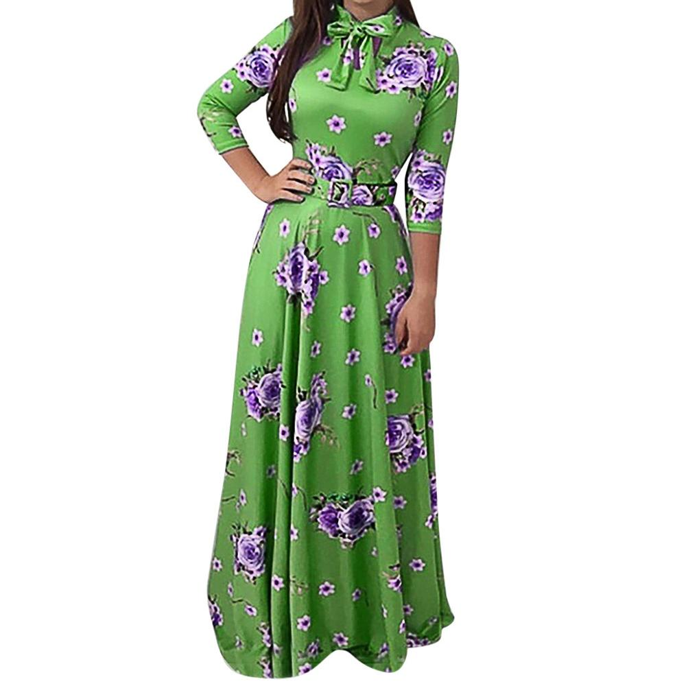Women's Dress Bow Broken Flowers Bohemia Printing Long Sleeves Blouse bohemian polka dot autumn dress women plus size #7