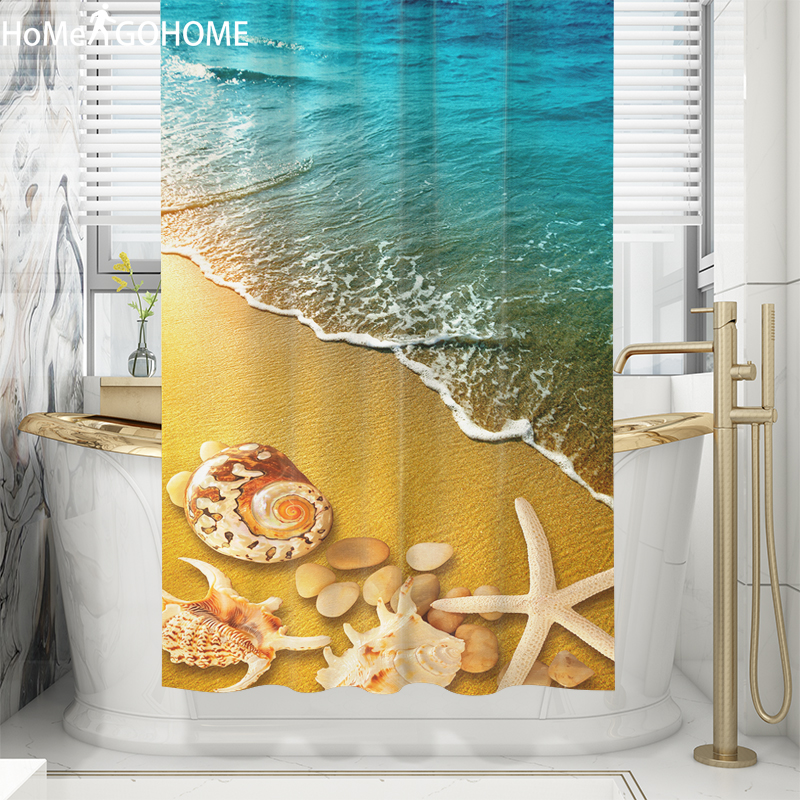 Washable Bath Screen Curtains with Hooks High Quality Polyester Shower Curtain 3D Bathroom Decoration Anime Sea Starfish Prints in Shower Curtains from Home Garden