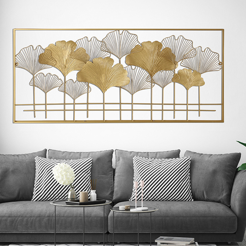 Chinese rectangular ginkgo leaf wall hanging for living room TV background decoration gold iron wall decor nordic metal decor