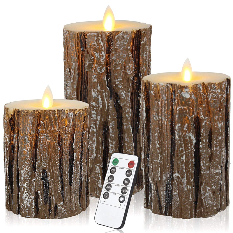 Flameless Candles Cedar-Bark Dripless Real Wax LED Pillars Include Realistic Flickering Flames And 10-Key Remote Control With 24