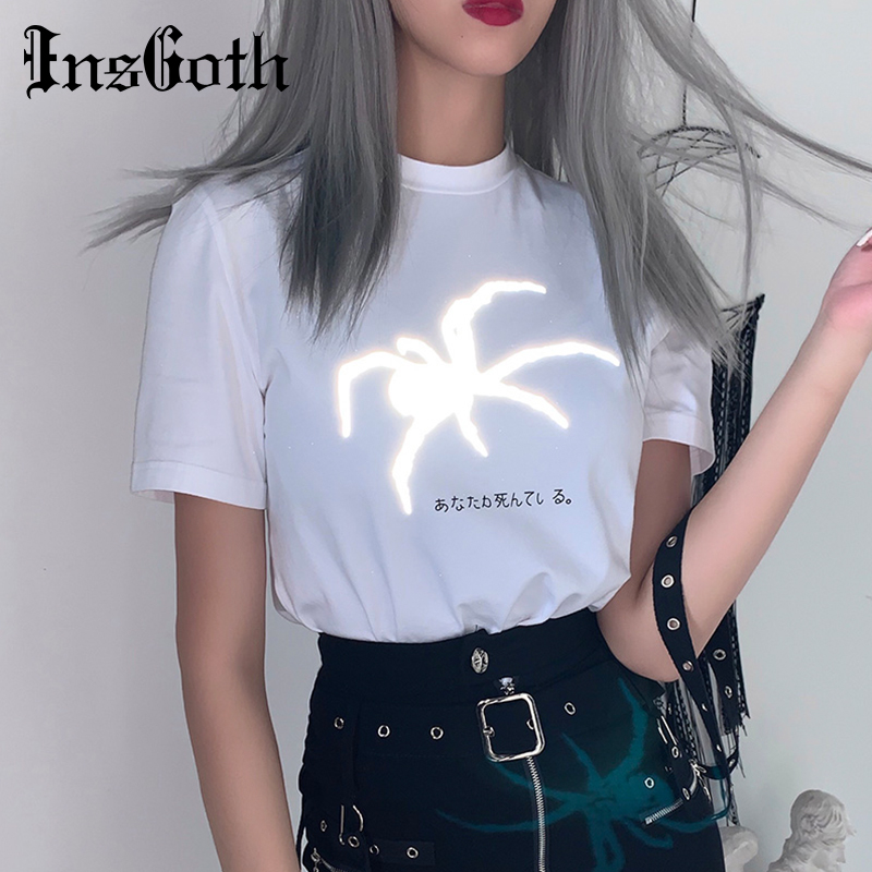 InsGoth Hrajuku Loose T-shirts Reflective Spider Print T-shits Women Gothc Streetwear White Short Sleeve Lady Cotton Top T-shirt